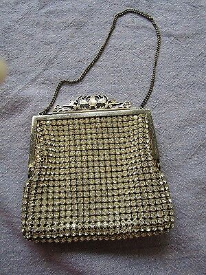 Vintage crystal beaded purse/handbag ornate frame