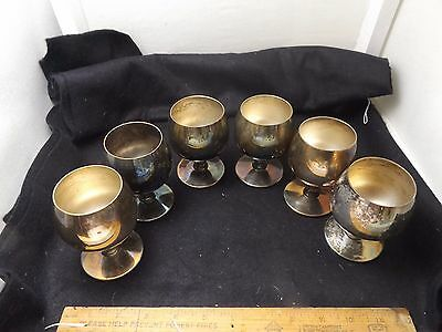 Vintage Set (6) Plator Silver Plate Goblets / Cups Made In Spain Reduced