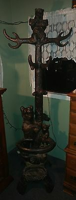 Black Forest style Carved metal bear Coat Hat Rack Hall Tree mama & cubs