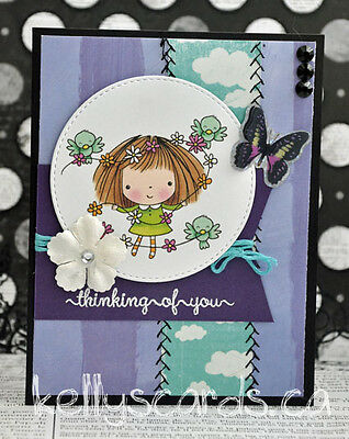 Sewn Thinking of you Embossed Greeting Card Paper Premade Handmade KOScraps4u