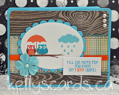 Sewn Owl Supportive Get Well Greeting Card Paper Premade Handmade KOScraps4u