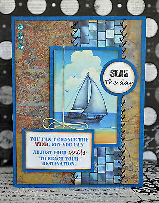 KOScraps4u SEWN Boat Male Inspirational Love Dad Card Premade Paper Piecing