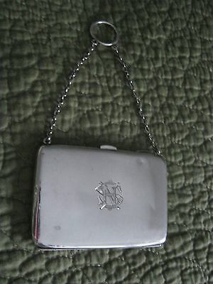 Vintage/ antique sterling silver card case / ring purse Chester 1913 monogram SN