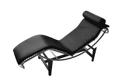 Black leather corbusier chaise lounge chair