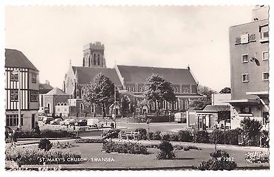 Old Postcard 'St Mary's Church' Swansea R/P