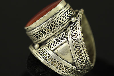 Gorgeous Near Eastern Turkman Vintage Carnelian Crafted Ring Us Size 10