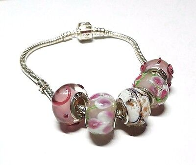Pretty in Pink Glass Beads with .925 Silver Inserts Large Hole Beads 5 pcs