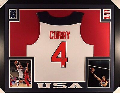 Steph Curry Autographed/Signed and Framed USA Olympic Jersey (JSA LOA)