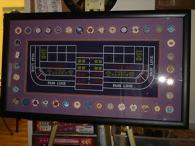 Las Vegas Framed 40 Casino Poker Chips Wall Art Large Man Cave Display