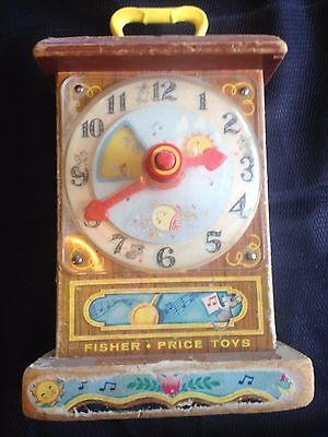 Vintage Old FISHER PRICE MUSICAL TICK TOCK Clock 1960s Wood US Seller