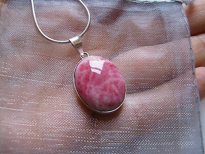 Extremely Rare! Stunning Rich Pink Tugtupite Greenland Sterling Silver Pendant