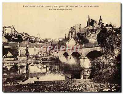 VINTAGE POSTCARD Large size Angles On Anglin View the Castle and the bridge on A