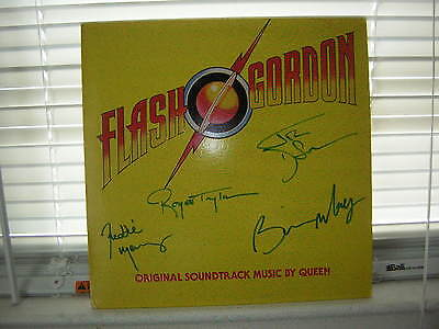 Queen Signed Lp Flash Gordon 1980 Freddie Mercury Brain May X4