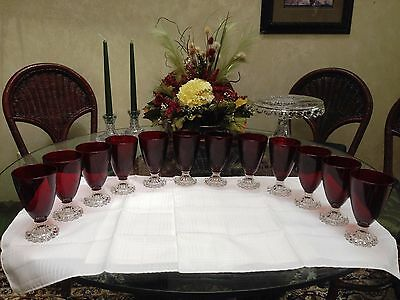 "Imperial Ruby Candlewick 5 1/2""  8 Oz. Goblets..Set of 12..1940's"