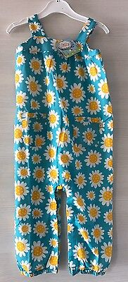 Frugi Organic Cotton Girls Dungarees 18-24 Months Sunflower Print Brand New Tags