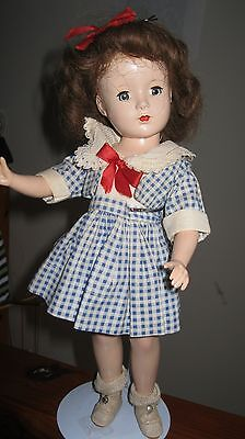 Vintage 14 Inch Doll From The 1950's Original Outfit Hair Bow Hard Plastic