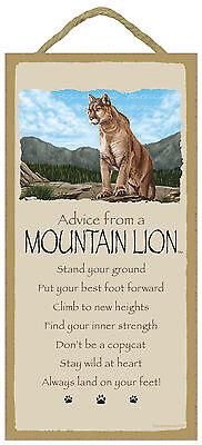 Advice from a Mountain Lion Inspirational Wood Nature Sign Plaque Made in USA