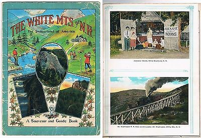 Vintage Illustrated WHITE MTS OF NH SOUVENIR & GUIDE BOOK ~ Handcar on Trestle