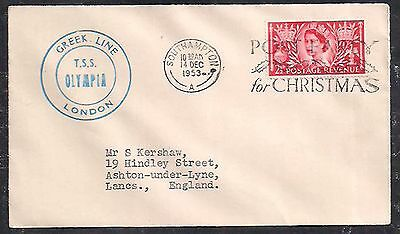 Paquebot Cover 1953 Gb Great Britain Greek Line Tss Olympia    Z27.8