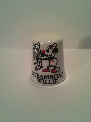 Steamboat Willie Old Time Cartoon Collectible Porcelain Thimble