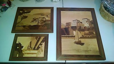 VINTAGE ITALY HARBOR WOOD INLAY Wall Picture Plaque Set  3 Made In Italy ESTATE