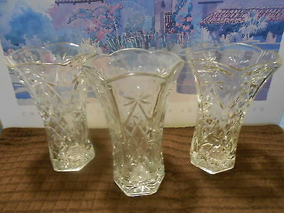 Vintage Anchor Hocking Star Of David Clear Glass Vase - Presscut 8 3/8""
