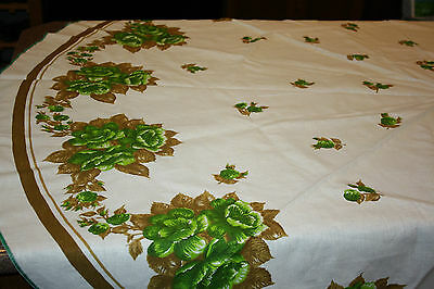 """Vintage Green Roses Floral Tablecloth Round 73"""" New no tags Cotton Linen"""