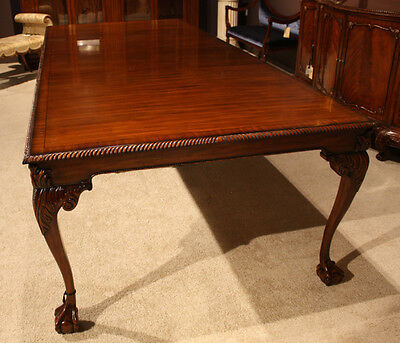 High end 10' mahogany traditional formal ball and claw dining table seats 10