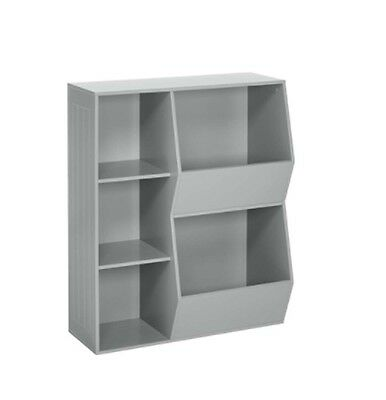 Storage Kids 3 Cubby Cabinet Children Bedrooms Playrooms Bin Floor Gray Shelves