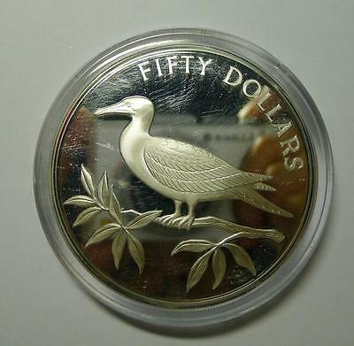 1985 Belize 50 Dollars Silver Proof Coin