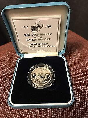 1995 50th Anniversary Of The United Nations Silver Proof £2 Coin