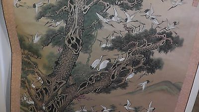 hanging wall scroll from japanese  japanese original birds cranes ? rare old