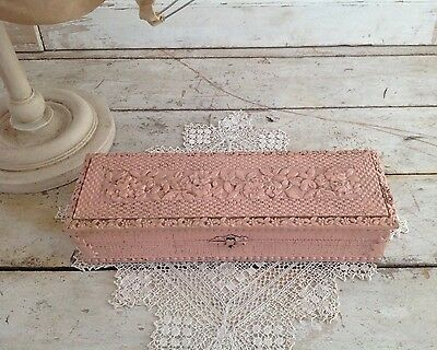 Antique Shabby Chic Pink Floral Gesso Wooden Box