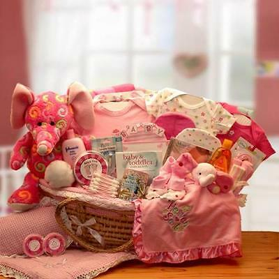 "New Baby Girl Deluxe Gift Basket Carrier-Pink 12"" plush baby elephant"