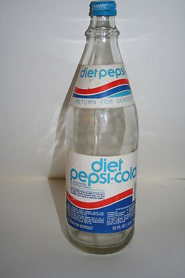 Vintage Diet Pepsi Cola 32oz Glass Bottle w/RARE paper Labels & with Cap
