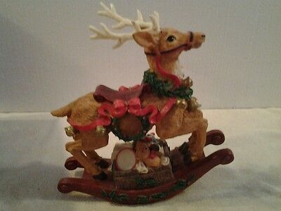 "Windsor Collection ""MUSICAL ROCKING REINDEER"" figurine plays Jingle Bells - NICE"