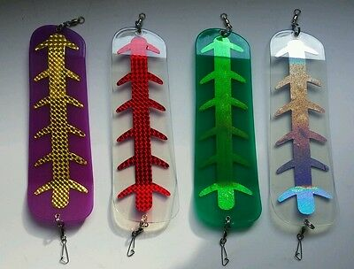 """Trolling Flashers for Salmon Halibut x 4 Glow and Ultra Violet flashers 11"""" inch"""