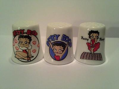 Set of 3 Betty Boop Cartoon Collectible Porcelain Thimbles