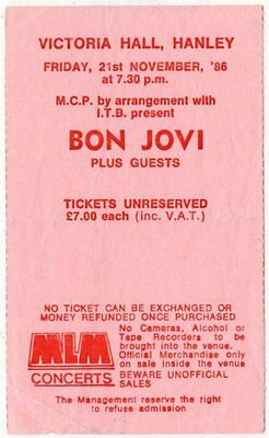 Bon Jovi Victoria Hall, Hanley 21/11/86 Ticket