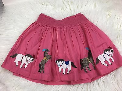MINI BODEN Girls Pink Horse Twirl Skirt Lined Cotton Size 6-7Y