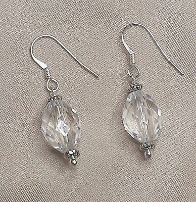 1950s  VINTAGE oval faceted crystal earrings with NEW SOLID STERLING SILVER
