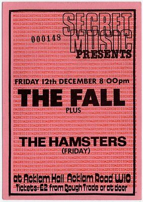Fall the Hamsters Acklam Hall, London 12/12/80 Ticket