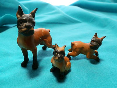 3 Vintage Boxer Dog Figurines Porcelain Mom + Puppy Puppies Need a Home!