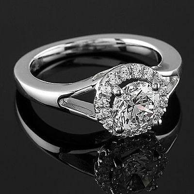 1.00Ct D/si1 Round Cut Diamond Solitaire Engagement Ring 14K White Gold Enhanced