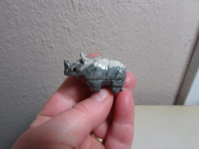 Rhino, Hand carved Stone from the Andes of Peru Miniature Rhinoceros Unique