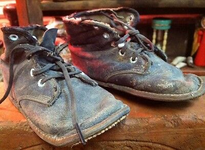 Depression Era Black Leather Lace Up Toddler Shoes Unrestored Battered Worn Out