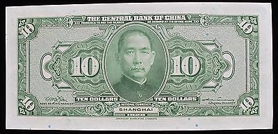 Central Bank Of China Note 1928 10 Dollars P197 Au Free S/h 2229