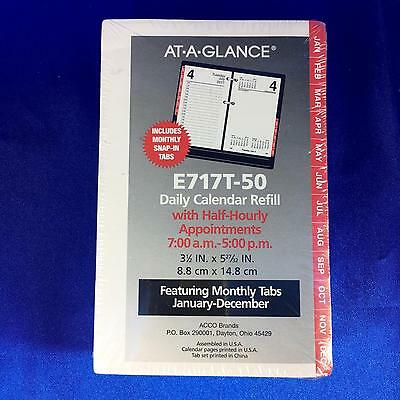 At-A-Glance Desk Calendar Refill with Tabs 3 1/2 x 6 White 2017 E717T-50