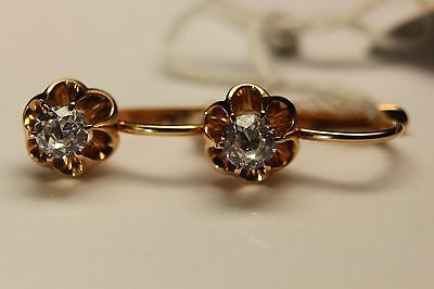 Vintage 14K 583 ROSE GOLD Russian Soviet USSR earrings