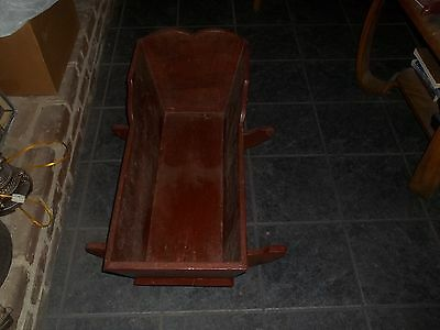 """ANTIQUE WOOD WOODEN HANDMADE BABY ROCKING CRADLE 33"""" Long x 14"""" Wide x 19"""" Tall"""
